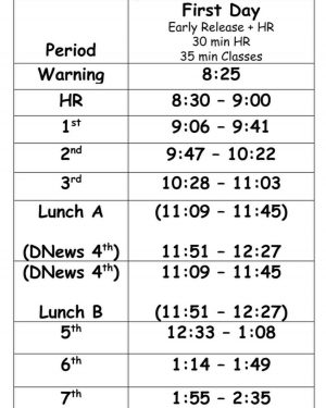 Bell Schedule for the First Day of School